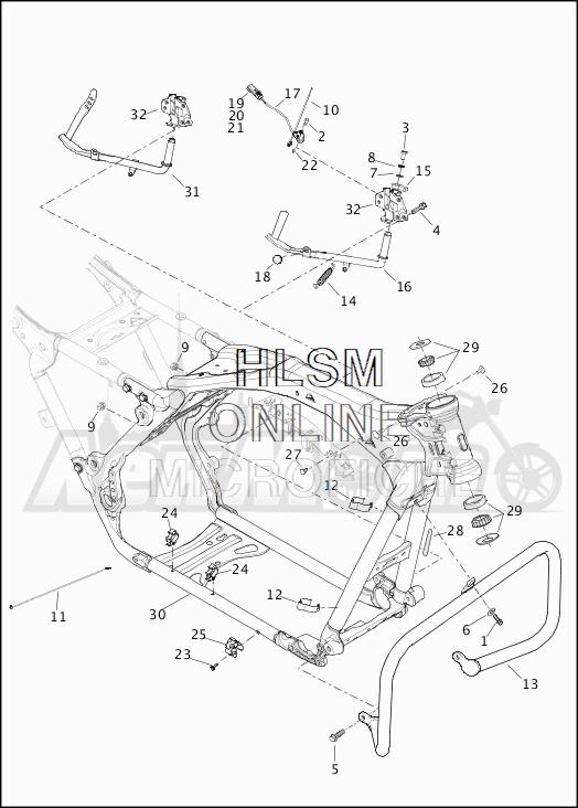 Запчасти для Мотоцикла Harley-Davidson 2019 FLHR ROAD KING (FB) Раздел: FRAME ASSEMBLY W/JIFFY STAND   рама в сборе вместе с боковая подставка