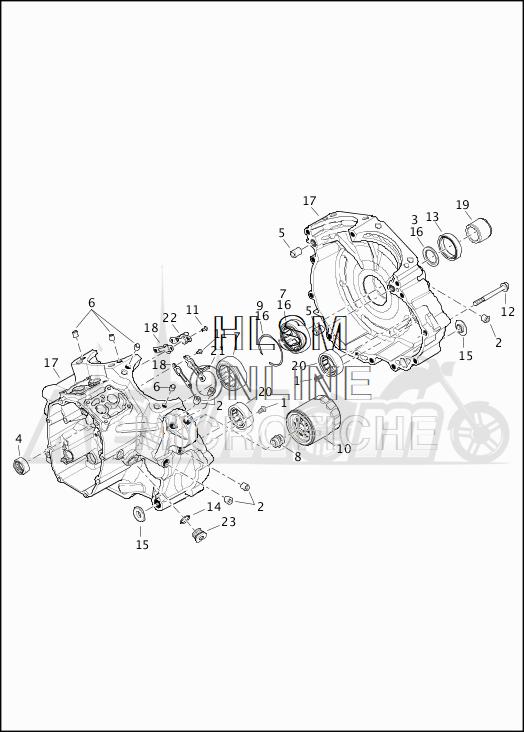 Запчасти для Мотоцикла Harley-Davidson 2019 FLHRC ROAD KING CLASSIC (FR) Раздел: CRANKCASE ASSEMBLY   картер в сборе