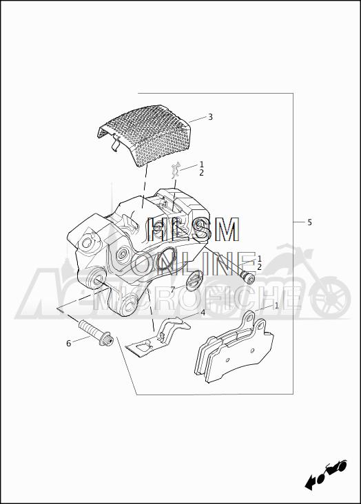 Запчасти для Мотоцикла Harley-Davidson 2019 FLHRC ROAD KING CLASSIC (FR) Раздел: BRAKE - FRONT BRAKE CALIPER ASSEMBLY | передний тормоз тормозной суппорт в сборе