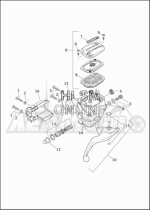 Запчасти для Мотоцикла Harley-Davidson 2019 FLHRC ROAD KING CLASSIC (FR) Раздел: BRAKE - FRONT BRAKE CYLINDER ASSEMBLY W/LEVER | передний тормоз тормоза цилиндр в сборе вместе с рычаг