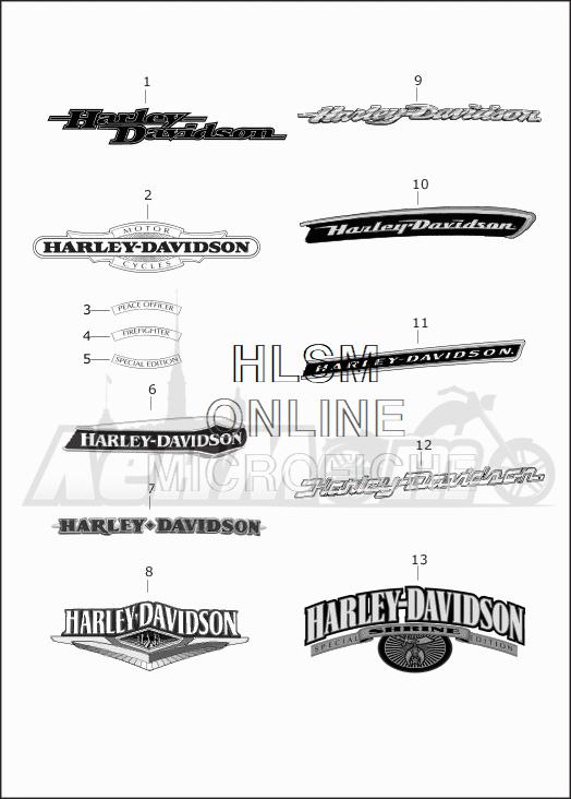 Запчасти для Мотоцикла Harley-Davidson 2019 FLHRC ROAD KING CLASSIC (FR) Раздел: FUEL TANK DECALS AND NAME PLATES | топливный бак наклейки и фирменные таблички