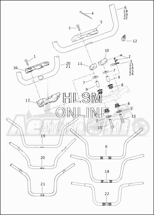Запчасти для Мотоцикла Harley-Davidson 2019 FLHRC ROAD KING CLASSIC (FR) Раздел: HANDLEBAR ASSEMBLY | руль в сборе