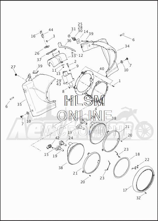 Запчасти для Мотоцикла Harley-Davidson 2019 FLHRC ROAD KING CLASSIC (FR) Раздел: HEADLIGHT ASSEMBLY W/NACELLE | передняя фара в сборе вместе с NACELLE