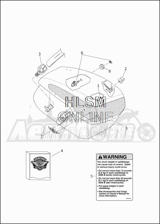 Запчасти для Мотоцикла Harley-Davidson 2019 FLHRC ROAD KING CLASSIC (FR) Раздел: SADDLEBAG ASSEMBLY | седельная сумка в сборе