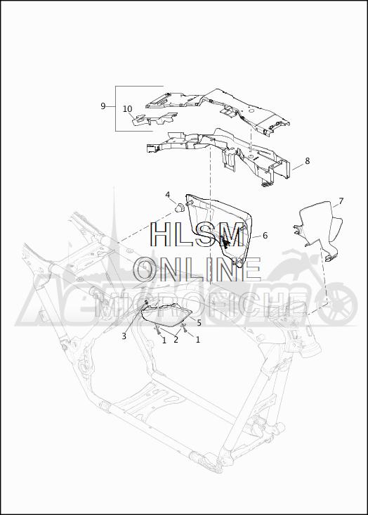 Запчасти для Мотоцикла Harley-Davidson 2019 FLHRC ROAD KING CLASSIC (FR) Раздел: SIDE COVERS W/AIR DEFLECTORS | боковые крышки вместе с воздух дефлекторы