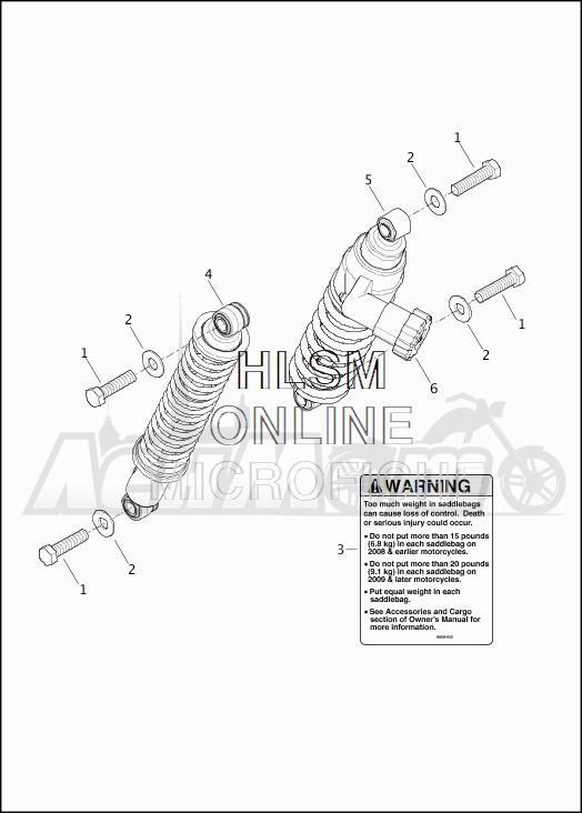 Запчасти для Мотоцикла Harley-Davidson 2019 FLHRC ROAD KING CLASSIC (FR) Раздел: SUSPENSION - REAR SHOCK ABSORBERS | задняя подвеска амортизаторы
