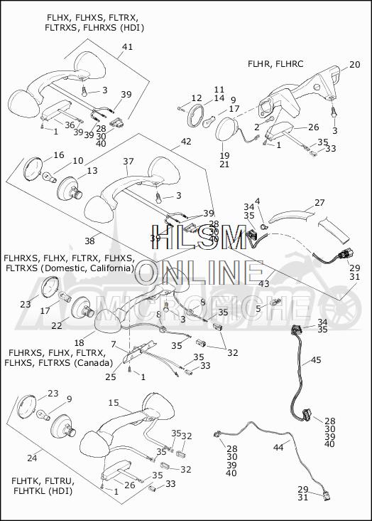 Запчасти для Мотоцикла Harley-Davidson 2019 FLHRC ROAD KING CLASSIC (FR) Раздел: TAIL LAMP W/REAR TURN SIGNALS | TAIL лампа вместе с зад сигналы поворота