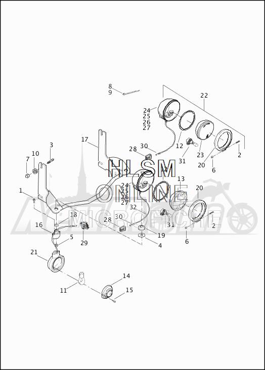 Запчасти для Мотоцикла Harley-Davidson 2019 FLHRC ROAD KING CLASSIC (FR) Раздел: TURN SIGNALS - AUXILIARY FOG LAMPS - FRONT   сигналы поворота вспомогательный противотуманные фары перед
