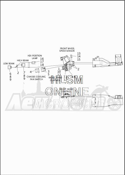 Запчасти для Мотоцикла Harley-Davidson 2019 FLHRXS ROAD KING SPECIAL (KV) Раздел: WIRING HARNESS_MAIN - ABS - 2 | электропроводка главный жгут ABS 2