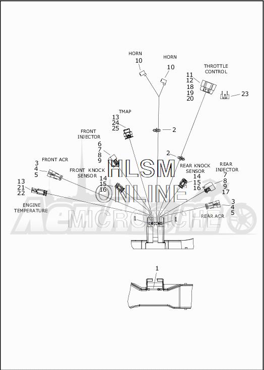 Запчасти для Мотоцикла Harley-Davidson 2019 FLHRXS ROAD KING SPECIAL (KV) Раздел: WIRING HARNESS_MAIN - ABS - 3 | электропроводка главный жгут ABS 3