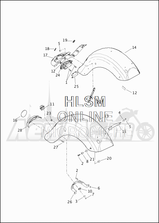 Запчасти для Мотоцикла Harley-Davidson 2019 FLHRXS ROAD KING SPECIAL (KV) Раздел: FENDER - REAR | заднее крыло