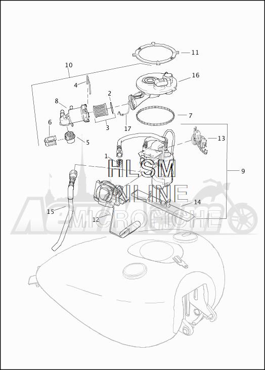 Запчасти для Мотоцикла Harley-Davidson 2019 FLHRXS ROAD KING SPECIAL (KV) Раздел: FUEL PUMP ASSEMBLY W/SENDER AND TOP PLATE | топливный насос в сборе вместе с передатчик и верх пластина
