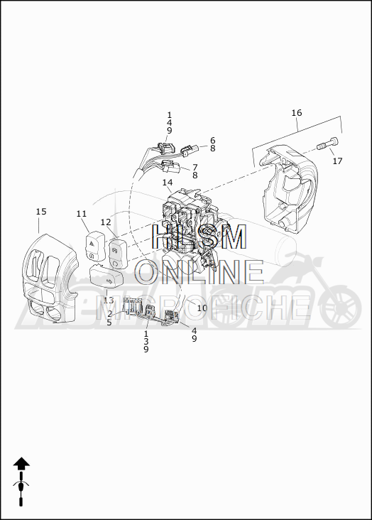Запчасти для Мотоцикла Harley-Davidson 2019 FLHRXS ROAD KING SPECIAL (KV) Раздел: HANDLEBAR SWITCHES - RIGHT HAND | руль выключатели, переключатели правая рука