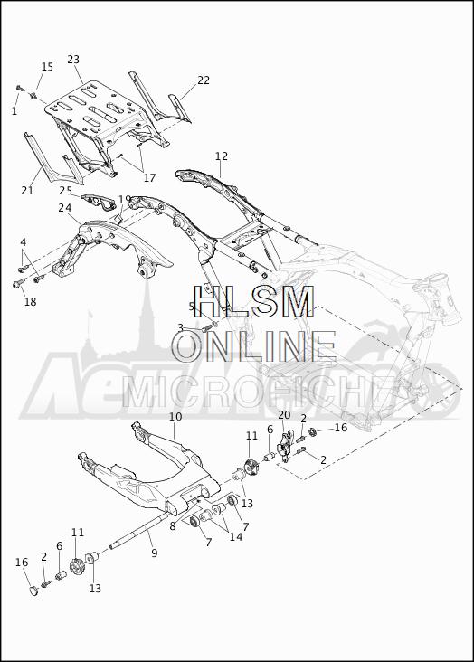 Запчасти для Мотоцикла Harley-Davidson 2019 FLHRXS ROAD KING SPECIAL (KV) Раздел: SUSPENSION - REAR FORK W/LUGGAGE RACK | задняя подвеска вилка вместе с багажник
