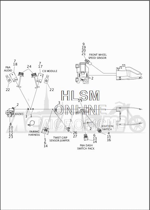 Запчасти для Мотоцикла Harley-Davidson 2019 FLHTCU ELECTRA GLIDE ULTRA CLASSIC (FC) Раздел: WIRING HARNESS_MAIN - ABS - 2 | электропроводка главный жгут ABS 2