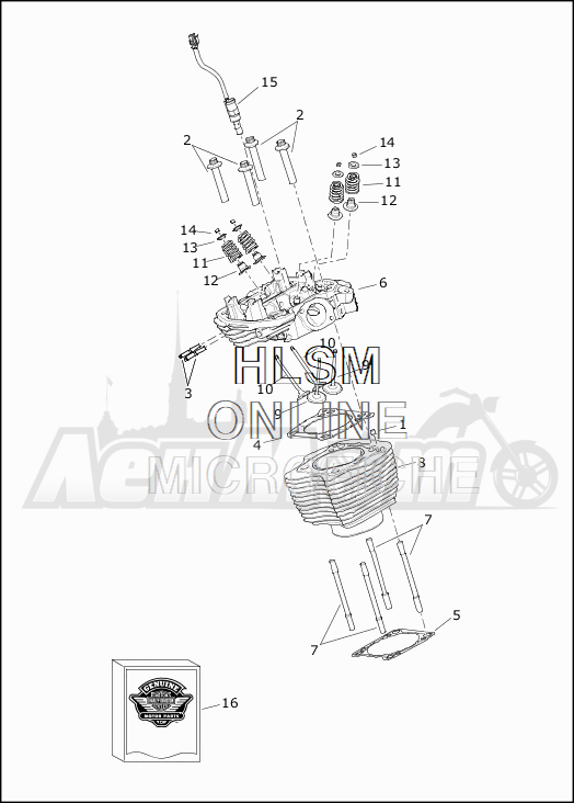 Запчасти для Мотоцикла Harley-Davidson 2019 FLHTCU ELECTRA GLIDE ULTRA CLASSIC (FC) Раздел: CYLINDERS W/HEADS AND VALVES | цилиндры вместе с головки и клапаны