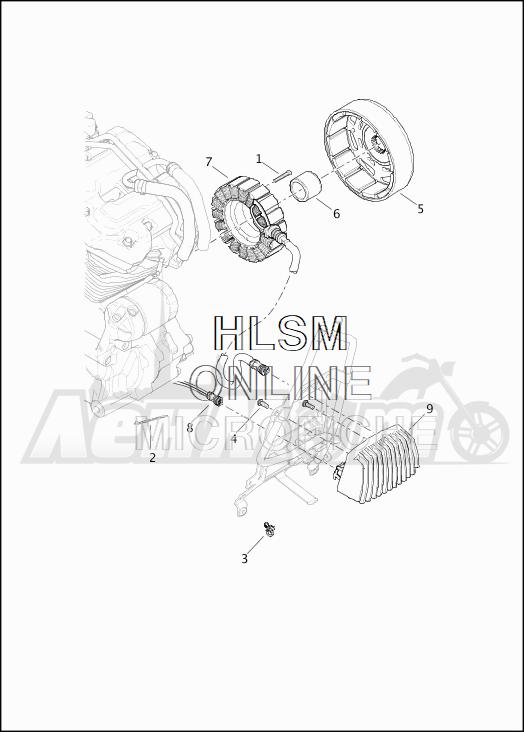 Запчасти для Мотоцикла Harley-Davidson 2019 FLHTCU ELECTRA GLIDE ULTRA CLASSIC (FC) Раздел: ELECTRICAL - ALTERNATOR W/VOLTAGE REGULATOR | электрика генератор вместе с регулятор напряжения
