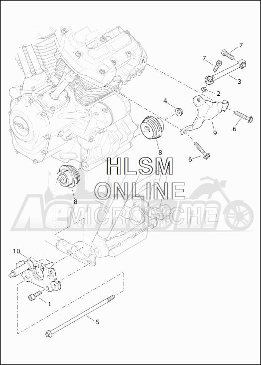 Запчасти для Мотоцикла Harley-Davidson 2019 FLHTCU ELECTRA GLIDE ULTRA CLASSIC (FC) Раздел: ENGINE MOUNTS W/STABILIZER LINK | опоры двигателя вместе с стабилизатор