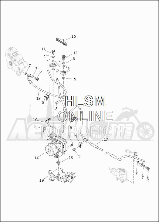 Запчасти для Мотоцикла Harley-Davidson 2019 FLHTCU ELECTRA GLIDE ULTRA CLASSIC (FC) Раздел: BRAKE - LINES W/MODULE (ABS)   тормоза магистрали вместе с модуль (ABS)