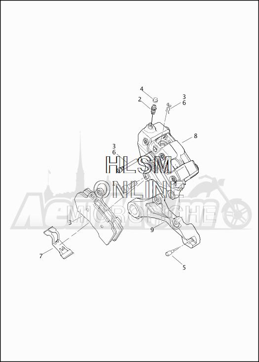Запчасти для Мотоцикла Harley-Davidson 2019 FLHTCU ELECTRA GLIDE ULTRA CLASSIC (FC) Раздел: BRAKE - REAR BRAKE CALIPER ASSEMBLY | задний тормоз тормозной суппорт в сборе