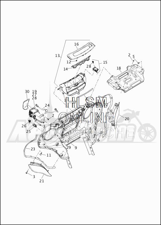 Запчасти для Мотоцикла Harley-Davidson 2019 FLHTCU ELECTRA GLIDE ULTRA CLASSIC (FC) Раздел: FAIRING_INNER - 1   обтекатель внутренний 1