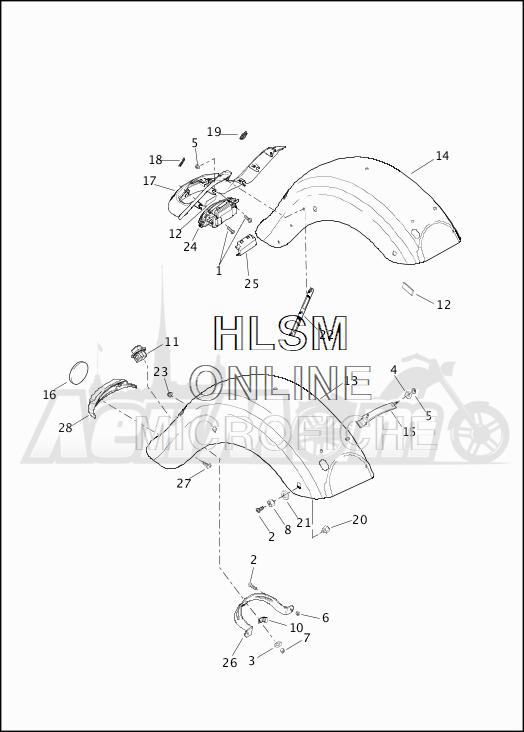 Запчасти для Мотоцикла Harley-Davidson 2019 FLHTCU ELECTRA GLIDE ULTRA CLASSIC (FC) Раздел: FENDER - REAR | заднее крыло