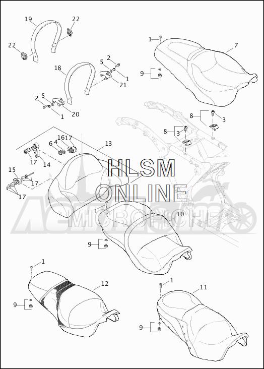 Запчасти для Мотоцикла Harley-Davidson 2019 FLHTCU ELECTRA GLIDE ULTRA CLASSIC (FC) Раздел: SEAT ASSEMBLY W/BACKREST | сиденье в сборе вместе с спинка