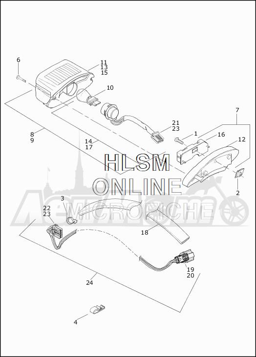 Запчасти для Мотоцикла Harley-Davidson 2019 FLHTCU ELECTRA GLIDE ULTRA CLASSIC (FC) Раздел: TAIL LAMP ASSEMBLY | TAIL лампа в сборе