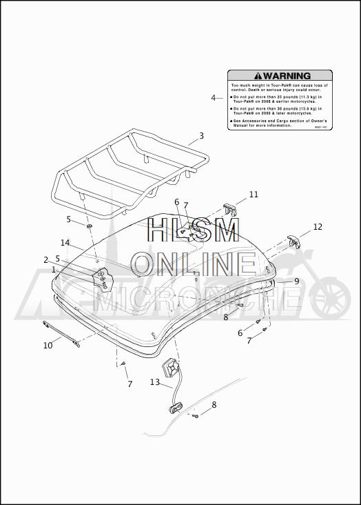 Запчасти для Мотоцикла Harley-Davidson 2019 FLHTCU ELECTRA GLIDE ULTRA CLASSIC (FC) Раздел: TOUR-PAK - COVER | тур пакет крышка