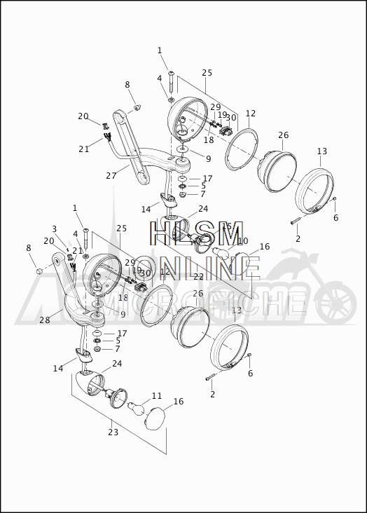Запчасти для Мотоцикла Harley-Davidson 2019 FLHTCU ELECTRA GLIDE ULTRA CLASSIC (FC) Раздел: TURN SIGNALS - AUXILIARY FOG LAMPS - FRONT | сигналы поворота вспомогательный противотуманные фары перед
