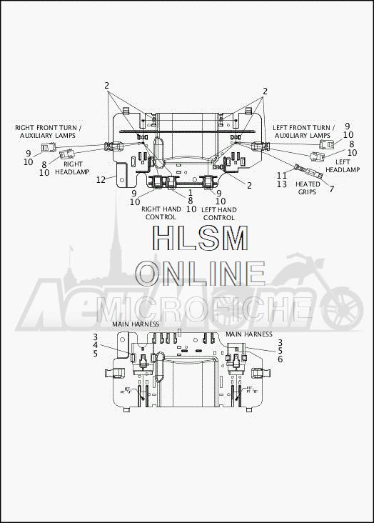 Запчасти для Мотоцикла Harley-Davidson 2019 FLHTCUTG TRI GLIDE ULTRA (MA) Раздел: WIRING HARNESS_FAIRING - HDI - ENGLAND - 1 (DUAL HEADLIGHT) | электропроводка коса обтекатель HDI англия 1 (двойной передняя фара)