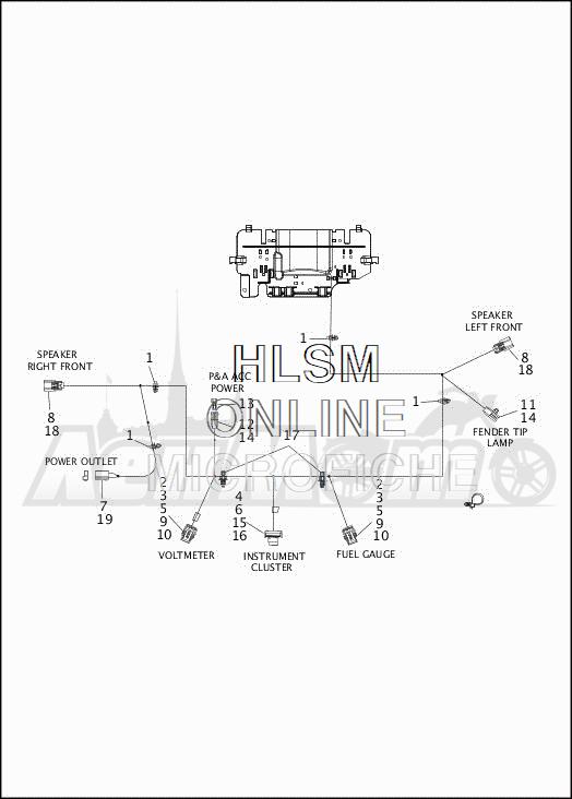 Запчасти для Мотоцикла Harley-Davidson 2019 FLHTCUTG TRI GLIDE ULTRA (MA) Раздел: WIRING HARNESS_FAIRING - HDI - ENGLAND - 2 (DUAL HEADLIGHT) | электропроводка коса обтекатель HDI англия 2 (двойной передняя фара)