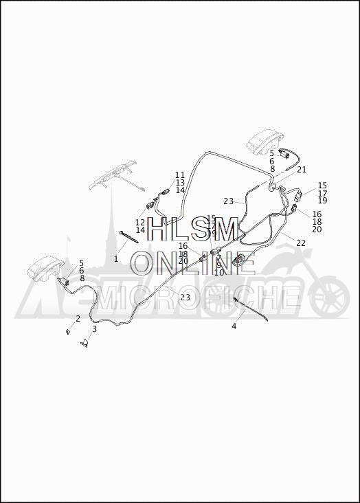 Запчасти для Мотоцикла Harley-Davidson 2019 FLHTCUTG TRI GLIDE ULTRA (MA) Раздел: WIRING HARNESS_TURN SIGNALS AND LIGHTS_REAR - HDI | электропроводка коса сигналы поворота и LIGHTS зад HDI