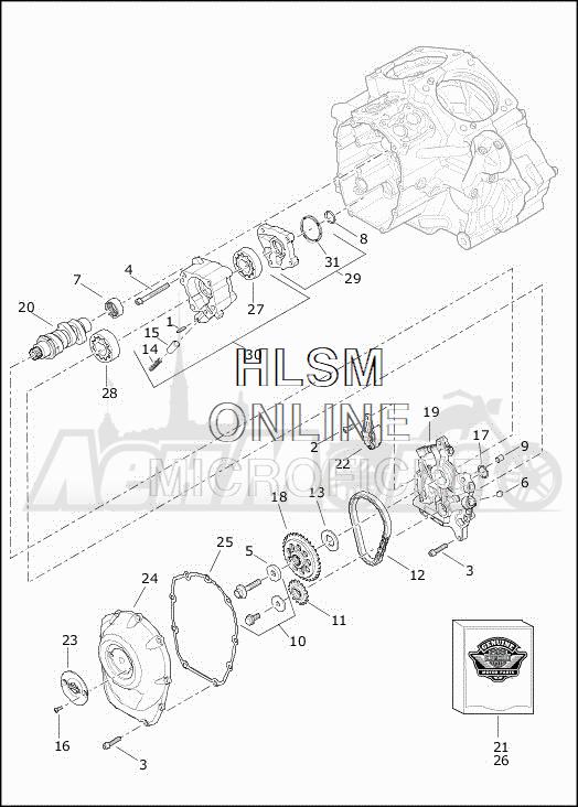 Запчасти для Мотоцикла Harley-Davidson 2019 FLHTCUTG TRI GLIDE ULTRA (MA) Раздел: CAMSHAFTS W/CAMSHAFT COVER | распредвалы вместе с распредвал крышка