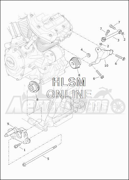 Запчасти для Мотоцикла Harley-Davidson 2019 FLHTCUTG TRI GLIDE ULTRA (MA) Раздел: ENGINE MOUNTS W/STABILIZER LINK | опоры двигателя вместе с стабилизатор