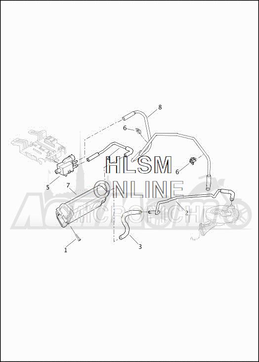 Запчасти для Мотоцикла Harley-Davidson 2019 FLHTCUTG TRI GLIDE ULTRA (MA) Раздел: EVAPORATIVE EMISSIONS COMPONENTS | испаритель выбросов компоненты