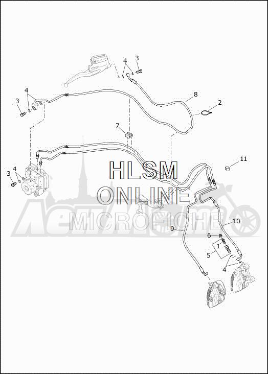 Запчасти для Мотоцикла Harley-Davidson 2019 FLHTCUTG TRI GLIDE ULTRA (MA) Раздел: BRAKE - FRONT LINE (ABS) | передний тормоз магистраль (ABS)