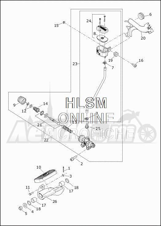 Запчасти для Мотоцикла Harley-Davidson 2019 FLHTCUTG TRI GLIDE ULTRA (MA) Раздел: BRAKE - REAR LEVER ASSEMBLY | задний тормоз рычаг в сборе