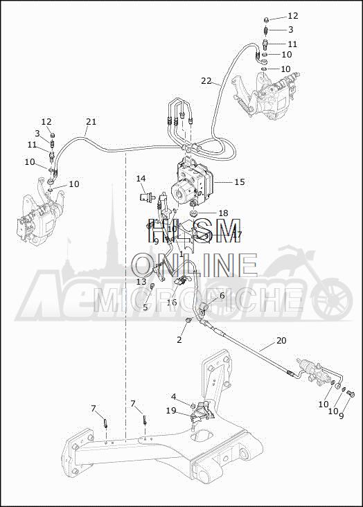 Запчасти для Мотоцикла Harley-Davidson 2019 FLHTCUTG TRI GLIDE ULTRA (MA) Раздел: BRAKE - REAR LINES W/MODULE (ABS) | задний тормоз магистрали вместе с модуль (ABS)
