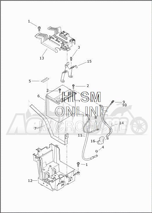 Запчасти для Мотоцикла Harley-Davidson 2019 FLHTCUTG TRI GLIDE ULTRA (MA) Раздел: ELECTRICAL - BATTERY W/BATTERY TRAY ASSEMBLY | электрика аккумулятор вместе с аккумулятор лоток в сборе