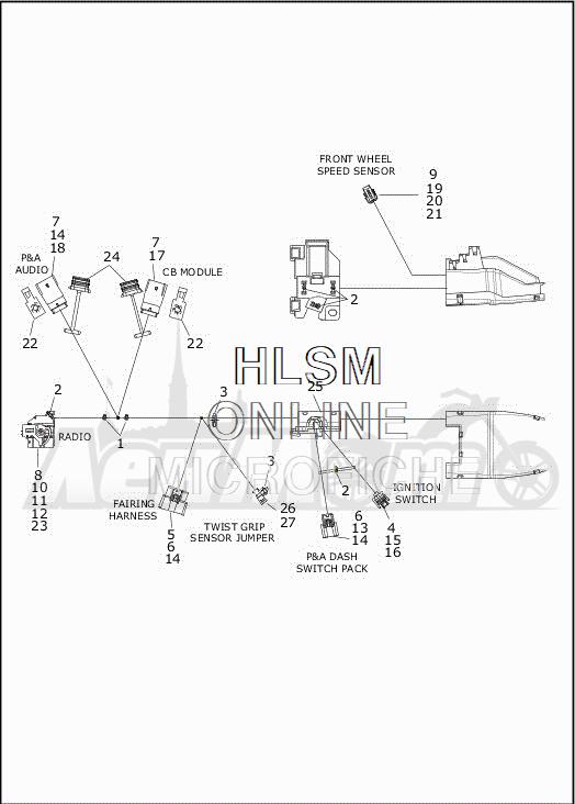 Запчасти для Мотоцикла Harley-Davidson 2019 FLHTCUTG TRI GLIDE ULTRA (MA) Раздел: ELECTRICAL - MAIN WIRING HARNESS - 2   электрика главный электропроводка коса 2