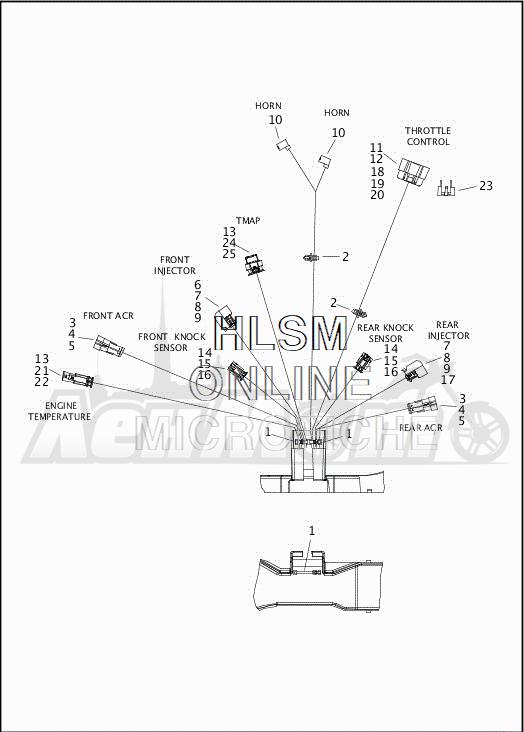 Запчасти для Мотоцикла Harley-Davidson 2019 FLHTCUTG TRI GLIDE ULTRA (MA) Раздел: ELECTRICAL - MAIN WIRING HARNESS - 3 | электрика главный электропроводка коса 3