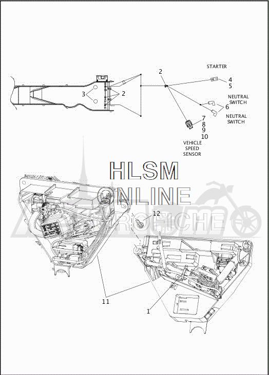 Запчасти для Мотоцикла Harley-Davidson 2019 FLHTCUTG TRI GLIDE ULTRA (MA) Раздел: ELECTRICAL - MAIN WIRING HARNESS - 6   электрика главный электропроводка коса 6
