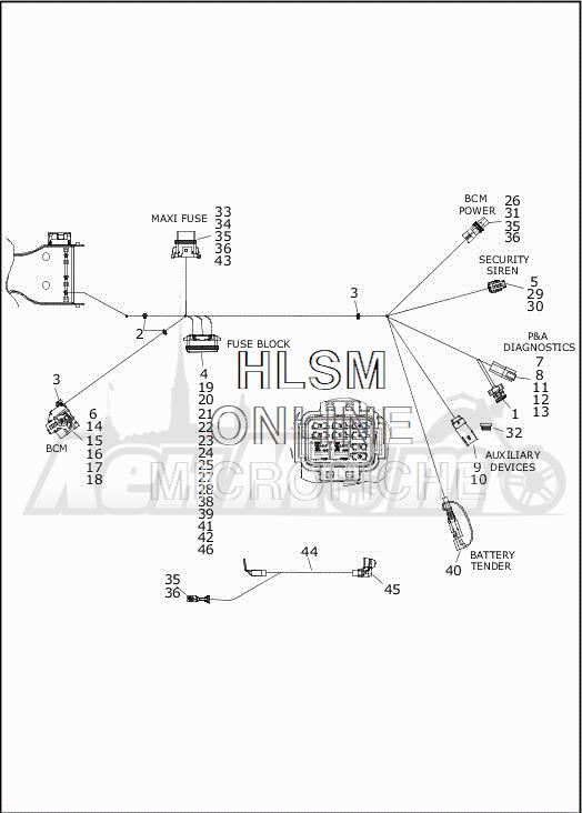 Запчасти для Мотоцикла Harley-Davidson 2019 FLHTCUTG TRI GLIDE ULTRA (MA) Раздел: ELECTRICAL - MAIN WIRING HARNESS - 8 | электрика главный электропроводка коса 8