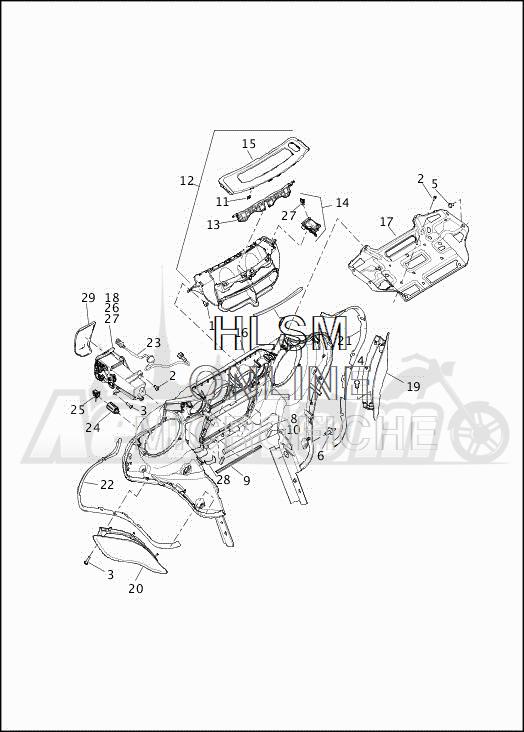 Запчасти для Мотоцикла Harley-Davidson 2019 FLHTCUTG TRI GLIDE ULTRA (MA) Раздел: FAIRING_INNER - 1 | обтекатель внутренний 1