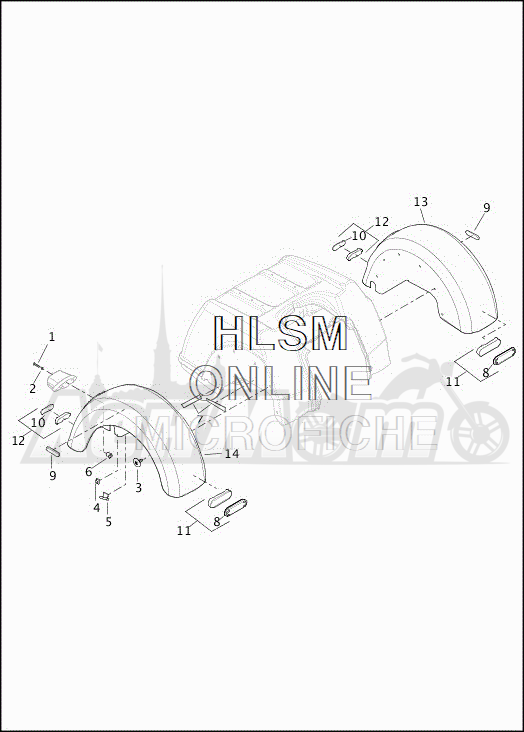 Запчасти для Мотоцикла Harley-Davidson 2019 FLHTCUTG TRI GLIDE ULTRA (MA) Раздел: FENDER - REAR | заднее крыло