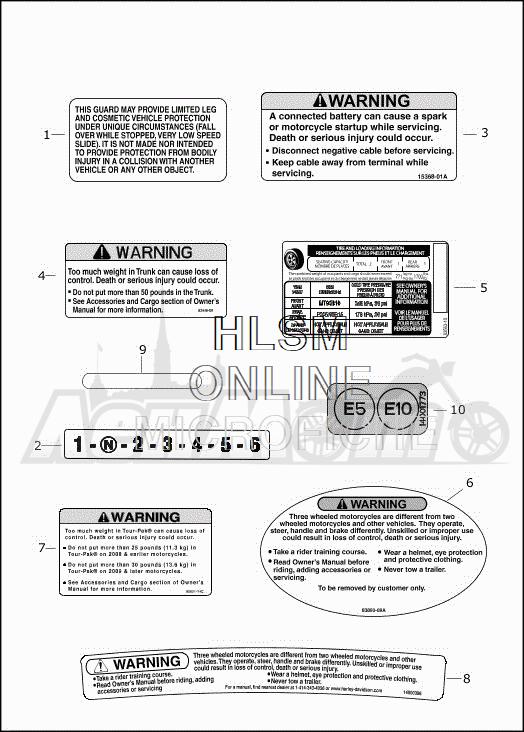 Запчасти для Мотоцикла Harley-Davidson 2019 FLHTCUTG TRI GLIDE ULTRA (MA) Раздел: GENERAL AND WARNING LABELS | общий и предупреждение этикетки, метки