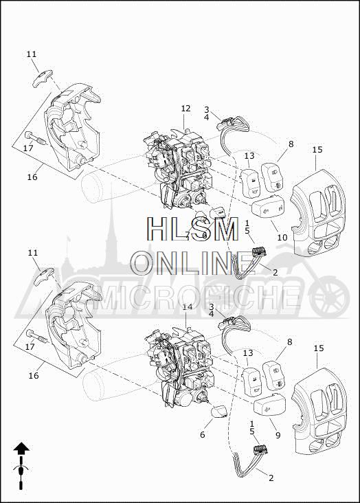 Запчасти для Мотоцикла Harley-Davidson 2019 FLHTCUTG TRI GLIDE ULTRA (MA) Раздел: HANDLEBAR SWITCHES - LEFT HAND | руль выключатели, переключатели левая рука