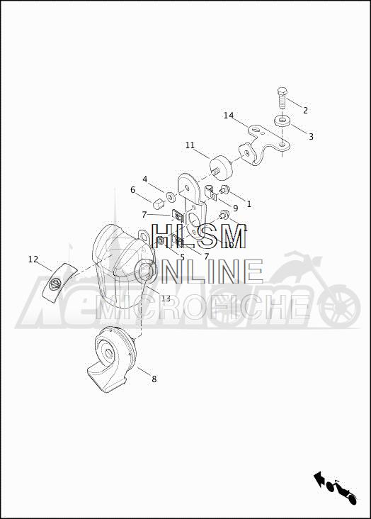 Запчасти для Мотоцикла Harley-Davidson 2019 FLHTCUTG TRI GLIDE ULTRA (MA) Раздел: HORN ASSEMBLY | звуковой сигнал, гудок в сборе