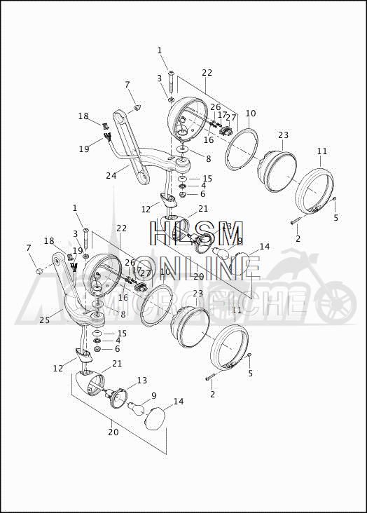 Запчасти для Мотоцикла Harley-Davidson 2019 FLHTCUTG TRI GLIDE ULTRA (MA) Раздел: TURN SIGNALS - AUXILIARY FOG LAMPS - FRONT - DOMESTIC - AUSTRALIA | сигналы поворота вспомогательный противотуманные фары перед внутренний рынок австралия